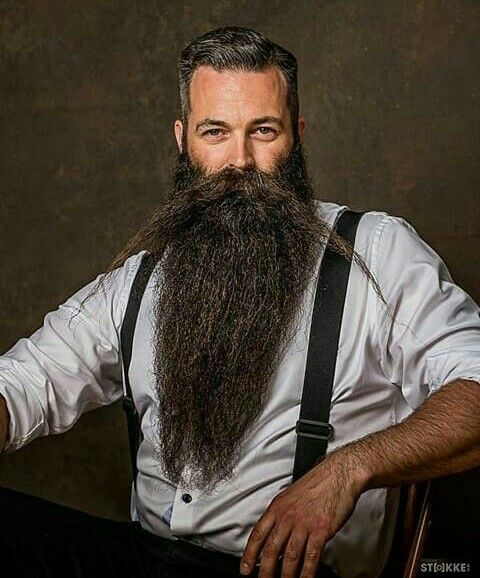 Hipster Moustache with Long Beard