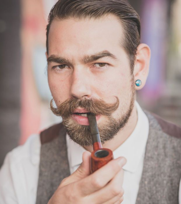 Hipster Moustache and sleek hair