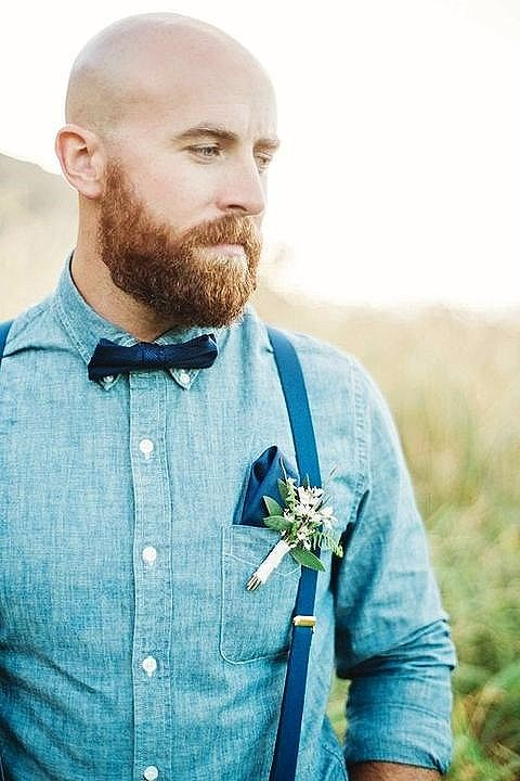 Hipster Moustache with Bald Look
