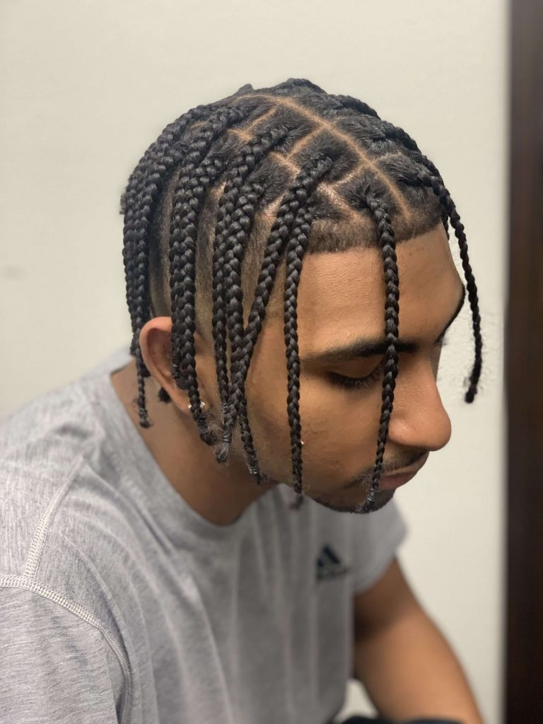 Short Box Braids Combined With A Fade