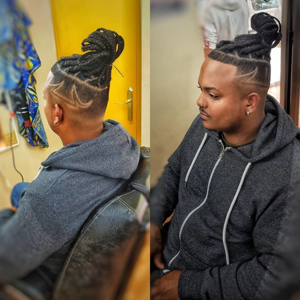 BIG BOX BRAIDS COMBINED WITH A FADE AND A CUT DESIGN