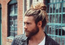 Man-bun with a dense beard