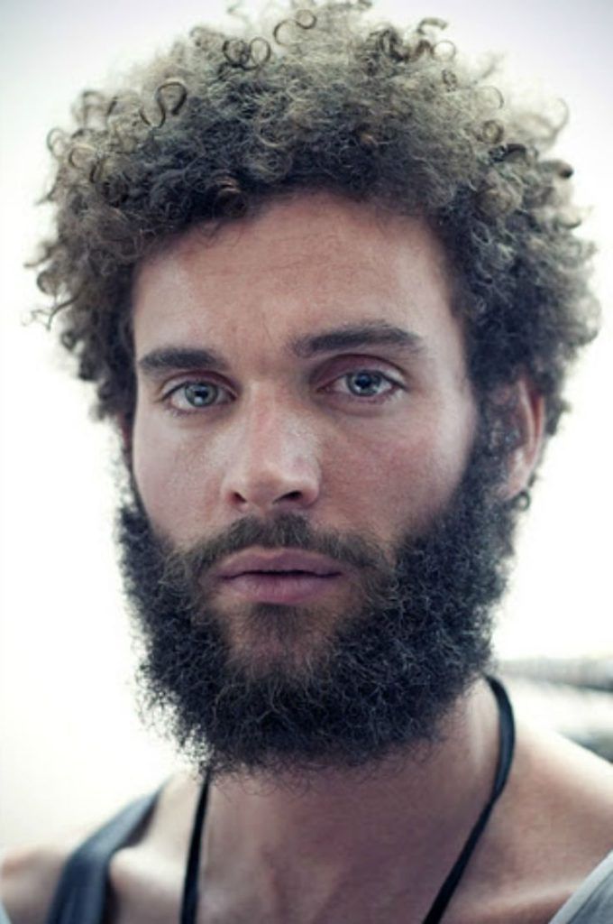Medium beard with long jeri curls