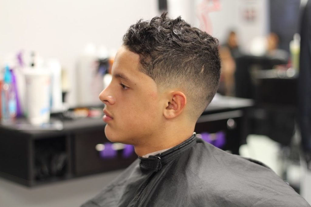 Curly hair with a fade