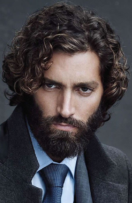 Wavy Long Curly Hairstyles Men 60
