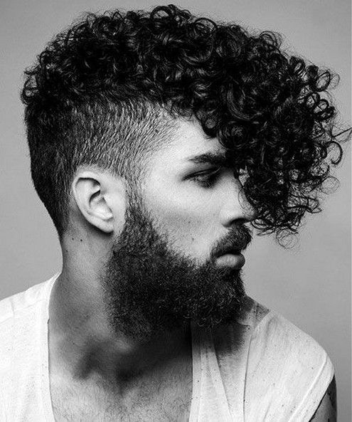 Long curly hair with undercut