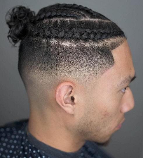 Braided bun for curly hair